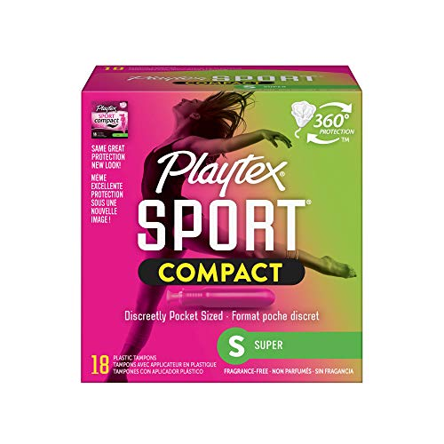 Playtex Sport Super Absorbency Compact Tampons with FlexFit Technology and Improved Applicator 18 Count