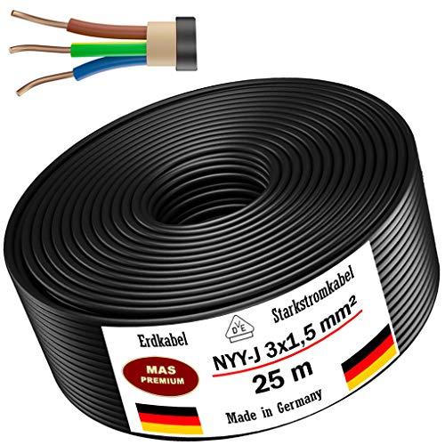 Erdkabel Stromkabel 5m, 10m, 20m, 25m, 50m oder 100m NYY-J 3x1,5 mm² Elektrokabel Ring zur Verlegung im Freien, Erdreich (25m)