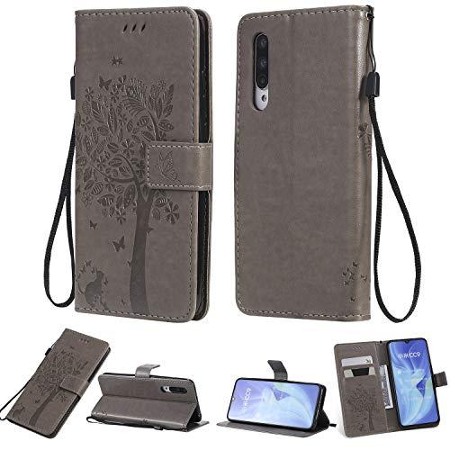 Zchen Xiaomi Mi 9 Lite Hülle, Kunstleder Portemonnaie Handy-Schutzhülle Book Flip Design Klapphülle Etui Tasche für Xiaomi Mi 9 Lite (Katze-Grau)