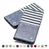 QIOTTI Hülle Kompatibel mit iPhone XS iPhone X Ledertasche aus Hochwertigem Leder RFID NFC Schutz mit Kartenfach Standfunktion (Line Blue)