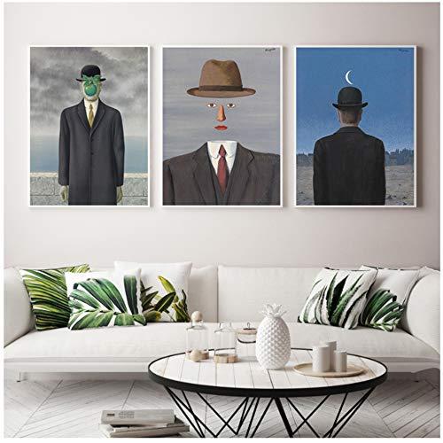 Leinwand Malerei Abstrakte Herrenhüte Poster Drucken Einzigartige Wandkunst Bilder für Wohnzimmer Schlafzimmer Gang Esszimmer-40x60 cm Kein Rahmen