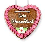 Lebkuchenherz zum selber Beschriften - Online Gestalten - Farbe: Rosa-Pink - zum selbst Beschriften für die Freundin, 15cm
