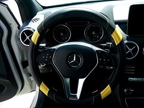 """Jdragon Black & Yellow PU Leather Best Grip Slip-On Steering Wheel Cover 14.25-15"""" Diameter"""