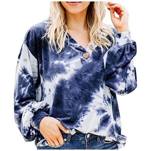 HOTHONG Femme Sweat Chemisier à Capuche Pull Tie-Dye Imprimer Sweat-Shirt Pulls Sweat-Shirt Top Nouveau Col Rond Imprimé Manches Mode DéContracté Blouse