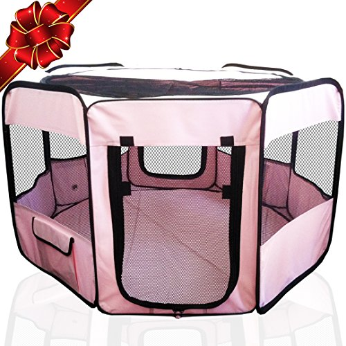 """ToysOpoly Pet Playpen 45"""" Exercise Puppy Pen Kennel - Best for Dogs and Cats Safe in Their Play-pen While Protecting The Little Kids - Folding Design Easy Storage (Pink)"""