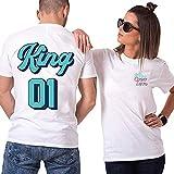 TAAIWO King Queen - Juego de Camisetas para Parejas de algodón con Texto en alemán Color Blanco. XL