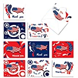 10 'United Thanks of America' Thank You Cards with Envelopes 4 x 5.12 inch, Assorted Red, White and Blue Greeting Cards, American Flag Stationery for 4th of July, Birthdays, Weddings M2376TYB