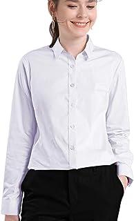 WAMSOFT White Button Down Shirt for Women, Long Sleeve Dress Shirts for Uniform Work Black Purple XL 3X