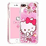 Logee Quicksand Kitty Pink Bling Glitter Girls Case for iPhone 8 Plus/7 Plus/6/6S Plus 5.5',Cute Cartoon Kawaii Animal Liquid Adorable Cover,Funny Unique Character Cases for Kids Women (iPhone8 Plus)