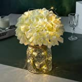 Artificial LED Hydrangeas Flowers with Glass Vase, Flower Arrangement for Table Centerpiece, Home Office Wedding Decoration