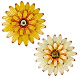 Juegoal 2 Pack 16' Large Metal Flowers Wall Art Inspirational Daisy Wall Decor Sunflower Hanging for Indoor Outdoor Home Bedroom Living Room Office Garden, White & Yellow