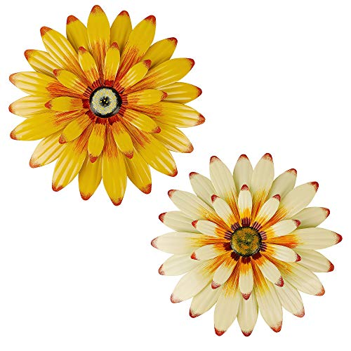 Juegoal 2 Pack 16' Large Metal Flowers Wall Art Inspirational Daisy Wall Decor Sunflower Hanging for...