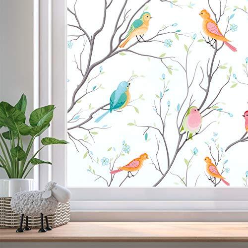 Beautysaid Sichtschutzfolie Fensterfolie Milchglasfolie Statische Frischhaltefolie No-Kleber Folie Vogel-Fensteraufkleber für Zuhause Badezimmer Büro 59x200cm