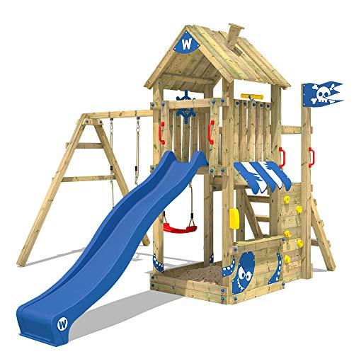 WICKEY Parque infantil de madera The Proud Parrot con columpio y tobogán azul Torre de escalada de exterior con arenero y escalera para niños