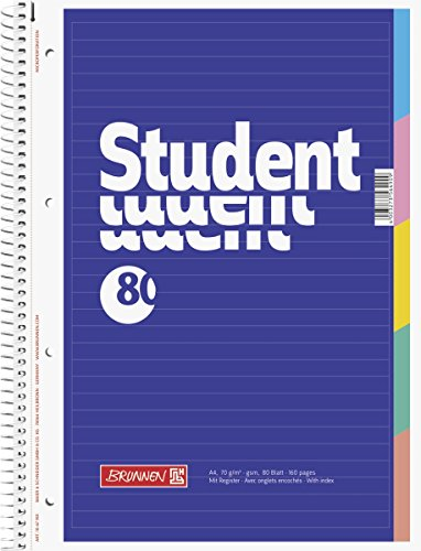 Brunnen 1067901 Notizblock / Collegeblock Student (mit Register, A4, liniert, 70 g/m², 80 Blatt)