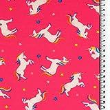Loopomio Jersey Stoffe Einhorn Einhörner Pferde pink 0,50m