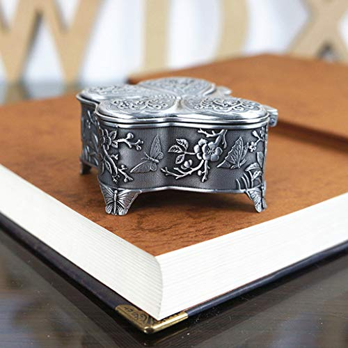 LessLIFE Caja de joyería, Vintage Metal Joyero Caja Tesoro Trinket,Anillo Pendientes Collar Regalo de Recuerdo