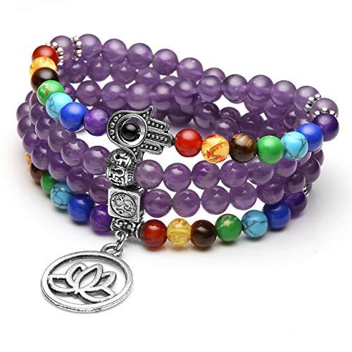 JSDDE 108 Perlen Edelstein Yoga Armband Wickelarmabnd 7 Chakra Lotus Anhänger Perlenarmband Healing Reiki Mala Kette Tibetische Halskette Gebetskette...