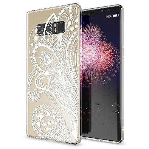 NALIA Handyhülle kompatibel mit Samsung Galaxy Note 8, Motiv Design Schutzhülle Slim Silikon Hülle, Crystal Handy-Tasche Hülle Muster Back-Cover Dünn, Smart-Phone Etui, Designs:Artificial Flowers