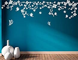 Heaven Decors Beautiful Vines with Butterfly Vinyl Large Wall Sticker (101 x 59 cm, White)