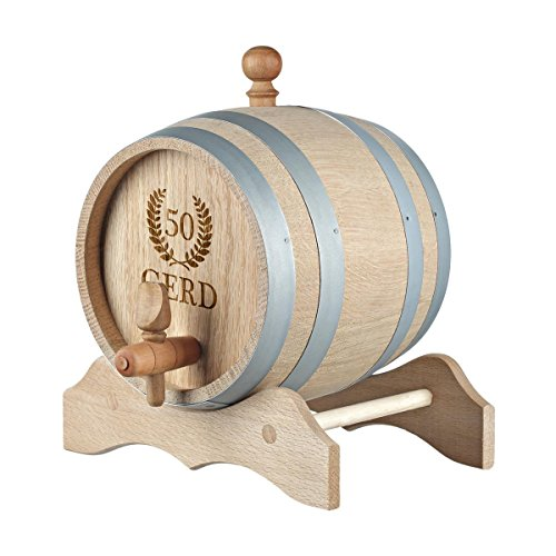 polar-effekt 1 Liter Holzfass Personalisiert mit Gravur - Geschenkidee zum Geburtstag für sie/ihn - Eichen-Fass für Whisky oder Wein - Motiv Jubiläumskranz