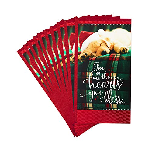 Hallmark Pack of Christmas Money or Gift Card Holders, Sleeping Puppy (10 Cards with Envelopes) (799XXH5237)