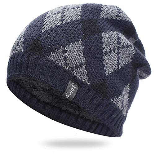 Liaiqing Men's & Women's Autumn & Winter Windproof & Warm Fashion Hedging Diamond Pattern Plus Down Cap Riding Ski Outdoor Sports Cap Comfortable Ear Protection Knitted Hat Outdoor Hat (Color : C)