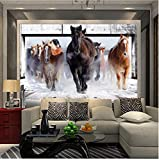 Living Equipment Mural Running Horses Papel tapiz fotográfico personalizado Moderno Creativo Artístico Mural de pared Papel tapiz Restaurante Sofá TV Telón de fondo Decoración del hogar Lienzo Mura