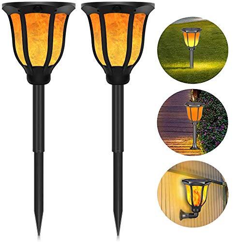 Solar Flammenlicht 2 Stück Solar Fackel 99 LED Gartenbeleuchtung Solar IP65 Wasserdicht Solarleuchte Garten Automatische Ein/Aus Solar Flamme Lampe für Außen,Garten