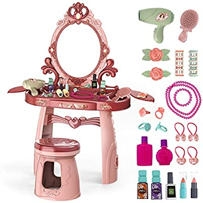 Meland Toddler Vanity Set - Kids Toy Vanity Table for Little Girls with Sound and Light Mirror and Beauty Accessories, Birthday Toys for Little Princess Pretend Play