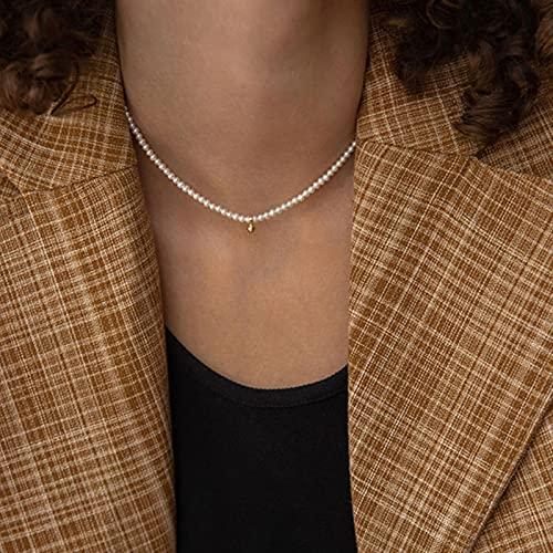 SONGK Gargantilla de Perlas de imitación Blancas Grandes y Elegantes, Collar de Cadena de clavícula para Mujer, joyería de Boda, Collar, Cadena para el Cuello