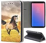 Huawei P8 Lite 2017 Hülle Premium Smart Einseitig Flipcover Hülle P8 Lite 2017 Flip Case Handyhülle Huawei P8 Lite 2017 Motiv (1395 Pferd Hengst Braun Schwarz auf Wiese)