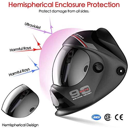 Tekware Ultra Large Viewing Screen True Color Solar Power Auto Darkening Welding Helmet, Hemispherical 4C lense, 4 Arc Sensor Wide Shade 4~5/9-9/13 for TIG MIG Arc Weld Grinding Welder Mask