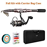 PLUSINNO Telescopic Fishing Rod Reel Combos Full Kit, Spinning Fishing Gear Organizer Pole Sets Line Lures Hooks Reel Fishing Carrier Bag Case Accessories (Full Kit with Carrier Case, 1.8M 5.91FT)