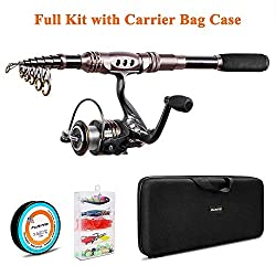 powerful PLUSINNO combination of spinning rod and reel Telescopic fishing rod, bait rod and reel …
