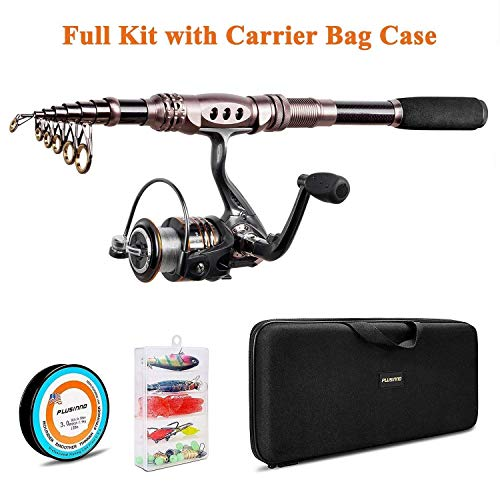 PLUSINNO Spinning Rod and Reel Combos Telescopic Fishing Rod Pole with Reel Line Lures Hooks Fishing Carrier Bag Case and Accessories Fishing Gear Organizer (1.8M 5.91FT Fishing Gear Organizer) … …