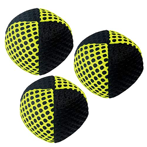 speevers Juggling Balls for Beginners and Professionals Set of 3, 10 Fresh Beautiful Summer Colors Available, 2 Layers of Net and Carry Case, Xballs Juggling Balls (Black - Yellow, 70g)