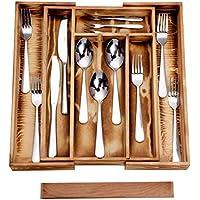 Silverware Drawer Organizer Wooden Expandable Kitchen Utensil Cutlery Tray