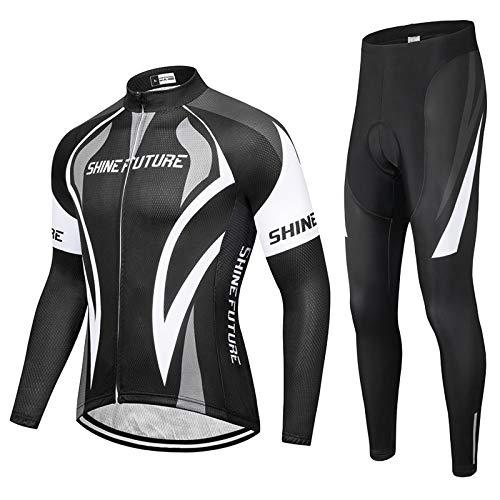 shine future – Conjunto de camiseta de ciclismo para hombre, maillot de manga corta y culote corto de ciclismo para hombre, con tira antideslizante en el dobladillo, Hombre, Negro , small