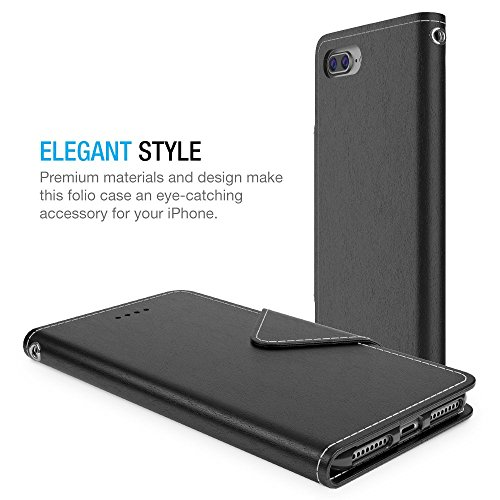 iPhone 7 Plus Wallet Case, Maxboost [Folio Style] Premium 7 Plus Card Cases STAND Feature for Apple iPhone 7 Plus 2016 [Black]Protective PU Leather Flip Cover with Card Slot+Side Pocket Magnetic