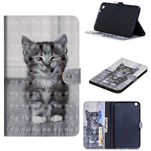 ShinyCase Samsung Galaxy Tab 3 8.0/SM-T315 T310-Tablet Hülle, Slim Lightweight Schutzhülle 3D PU Leder Shell Cover Tasche Etui Smiley Katze Design Flip Case mit Auto Sleep/Wake up Funktion Ständer
