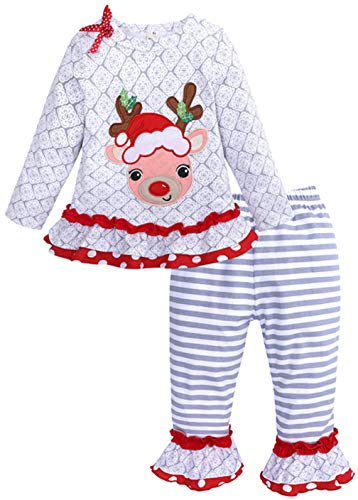 UNIQUEONE 2PCS Toddler Baby Girls Christmas Outfits Cartoon Deer Long Sleeve Top Pants Set Size 18-24Months/Tag90 (Gray)