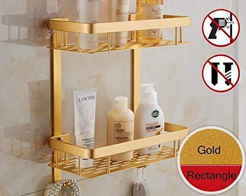 2-Tier Badezimmer Duschregal Duschcaddy, Aluminium Dusche Organizer Kein Bohren Selbstklebend Duschkorb Eckregal Dusche mit Haken,2 Ablagen Badezimmerregal-Gold-Rectangle