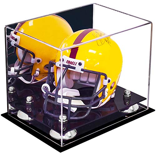Better Display Cases Acrylic Mini - Miniature Football Helmet (not Full Size) Display Case with Mirror, Silver Risers and Black Base (A003-SR)