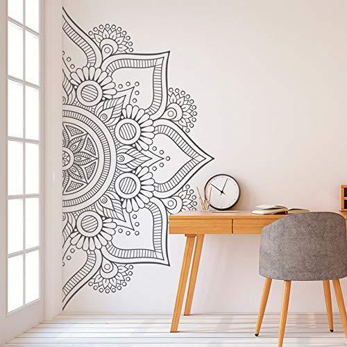 Calcomanía de Pared Bohemia Media Mandala calcomanía para cabecera Dormitorio Yoga Studio Vinilo Adhesivo 48x96cm