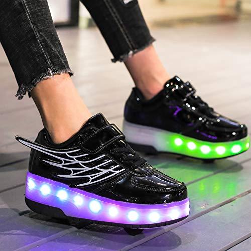 dhh LED Chaussures à roulettes Fille Garçon Retractable Basket A Roulette Peut être Chargé Via USB Rétractable Technique Skateboard Patins à roulettes Creative Gifts,Black-28