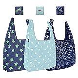 GAOYI Canasta de Compras, Token de Carrito de Compras, Cute-Reusable-Grocery-Bags-Green-Eco Friendly Bags 3 Pack, Lavable a máquina, Duradero, Ligero (Azul)