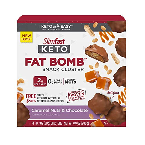 SlimFast Keto Fat Bomb Snacks - Chocolate Caramel Nut Clusters - 20g - 14 Count - Pantry Friendly from Glanbia Performance Nutrition