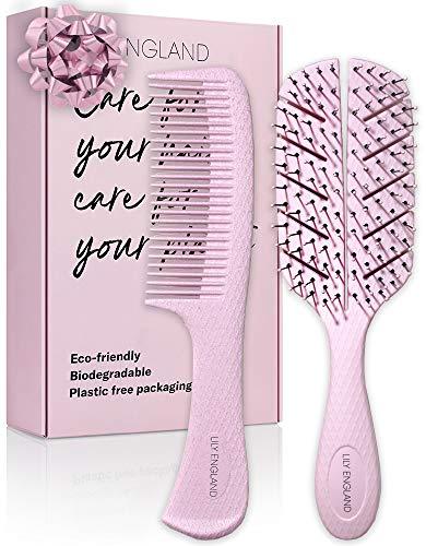 Juego de cepillo desenredante y peine - Cepillo antienredos para cabello húmedo, seco, rizado, en mujeres y niños y peine - Set de cepillos ecológicos para el cabello de Lily England - Rosa