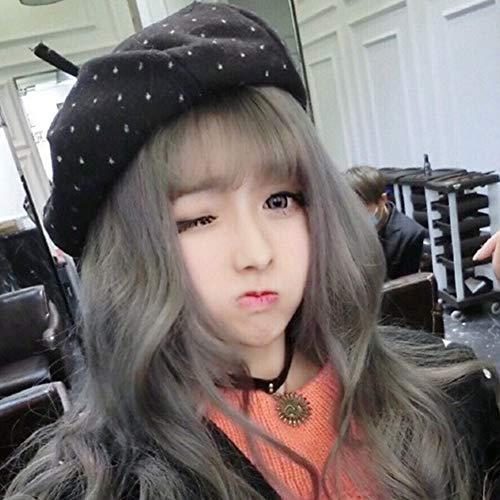 ZHML-wig Perruque-Harajuku Style Quotidien Complet Couvre-Chef Jeunesse Beau Naturel Moelleux Air Bangs Grande Vague Longue Bouclée Lait Grand-Mère Cendrée